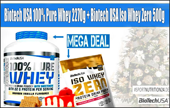 biotech usa 100% pure whey 2270g + biotech usa iso whey zero cristmas special 500g - Mega Deal -Angebot